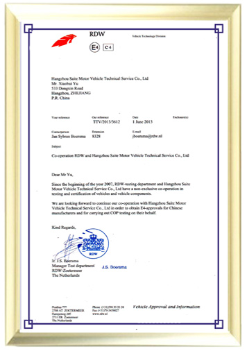 RDW Netherlands Ministry of Transportation Authorization Certificate